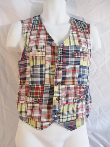 Teen Youth Boys POLO RALPH LAUREN VEST MADRAS PLAID XL 18-20 Preppy