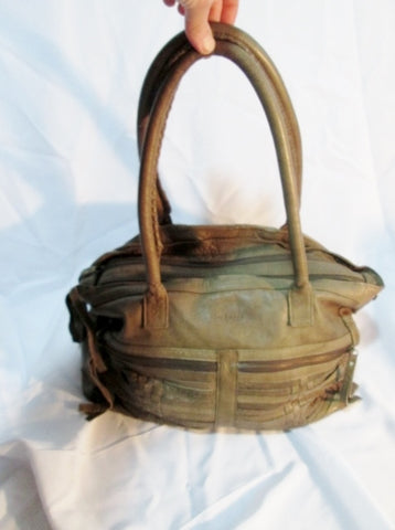 DAY & MOOD Anthropologie Leather Tote SHOULDER BAG Shopper LODEN GREEN Woven
