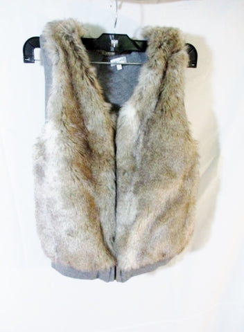 Girls SPLENDID Reversible Faux FUR Vest Sleeveless Jacket Coat 12 BROWN GRAY Youth