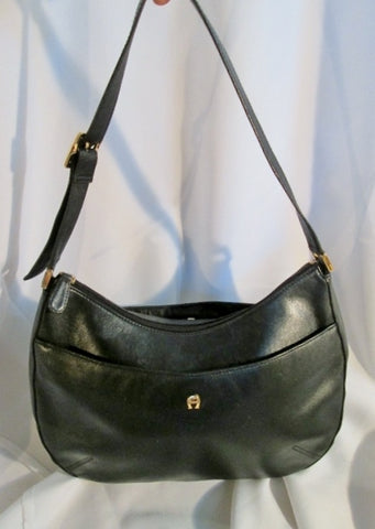 Authentic ETIENNE AIGNER signature leather hobo shoulder bag satchel BLACK stitch