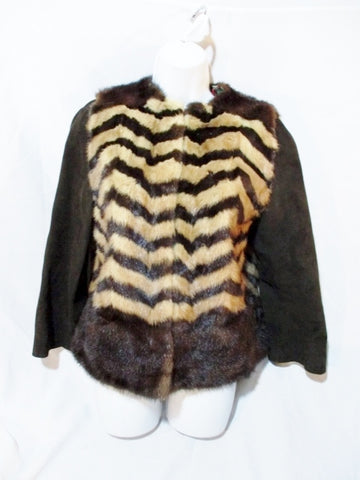 Handmade Vintage Mink Fur BOLERO Coat Jacket  BROWN ZIGZAG Rainbow ESTATE FIND