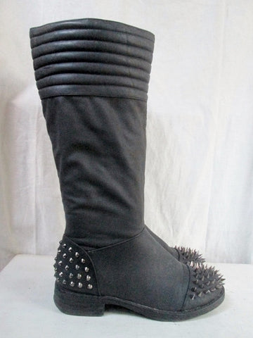 Womens DOLLHOUSE Vegan Cyberpunk Stud Chain SPIKE Combat BOOT 7.5 BLACK