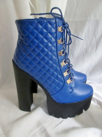 New Womens BUMPER Vegan High Heel Ankle Boot Booties 9 BLUE Steampunk