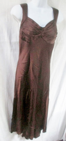 WOMENS CARMEN MARC VALVO Dress Sleeveless Full Maxi Gown 12 BROWN