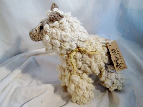 NEW NWT HANDMADE Wool Plush HAND KNIT SHEEP LAMB Stuffed Animal  AFRICA Doll Toy