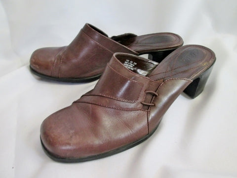 Womens CLARKS Leather Shoe Slip on CLOG Mule Slides 9.5 BROWN Heel