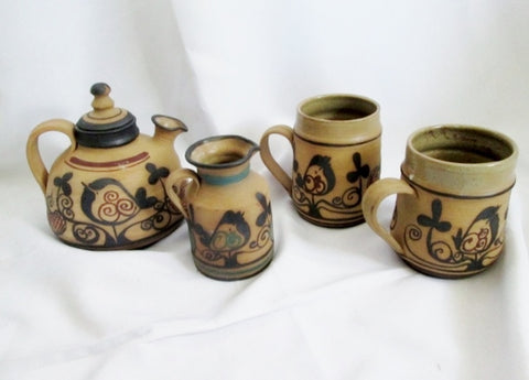 Handmade YAEL OLD JAFFA LEAD FREE Set Tea Teapot Cup Mug BROWN ISRAEL Pottery