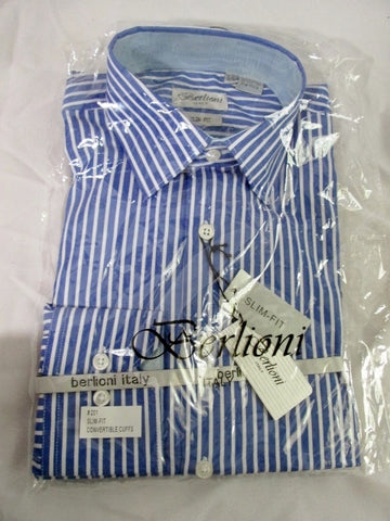 NEW Mens BERLIONI ITALY Dress Shirt BLUE 14-14.5- 32/33 SLIM-FIT Striped