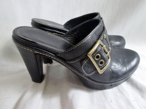 Womens COACH CANDACE Leather High Heel Clogs Mules Shoes BLACK 6.5