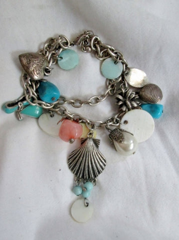 Nautical CHARM BRACELET hipster indie Shell Bead Bangle Jewelry Chunky Mermaid
