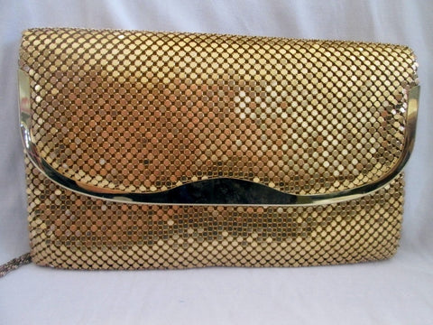 Vtg Y & S ORIGINAL GOLD Metal Mesh Evening Bag Shoulder Chainlink M