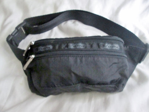 LESPORTSAC Running Bumbag Fanny Pack Waist Belt Travel Fitness Bag BLACK Vegan