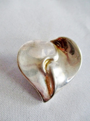 AIRESS 925 STERLING SILVER Puffy HEART LOVE BROOCH PIN SOULMATE FRIEND MOM