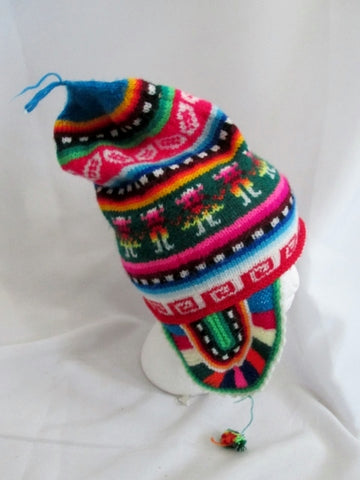 COLORFUL Knit Ear Flap HAT Cap Beanie Ethnic Fringe Tassel RAINBOW Boho OS Trapper