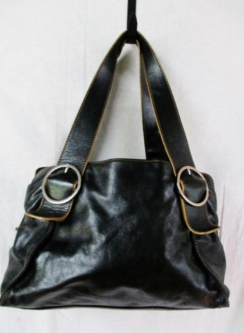 GINGER MICHELLE ITALIAN Leather Shoulder Bag Tote Handbag Satchel BLACK L