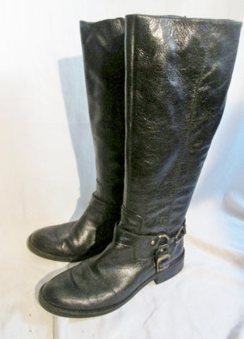 Womens ENZO ANGIOLINI SAUL LEATHER Moto RIDING BOOT BLACK 8.5 Harness Buckle