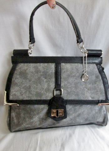 BIG BUDDHA Vegan Snakeskin Lizard Faux Leather Briefcase Handbag Satchel Purse GRAY L