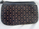 FOSSIL Mini Jacquard Canvas Leather Wristlet Change Purse Wallet Clutch BROWN S