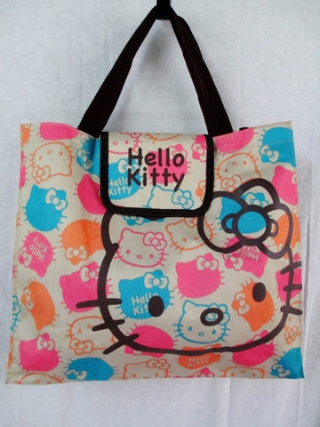 HELLO KITTY Canvas TOTE carryall shopper book bag handbag BEIGE MULTI