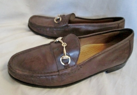 Mens COLE HAAN Leather Moccasins Walking Horse Bit Shoes Loafers 9.5 BROWN COMFORT