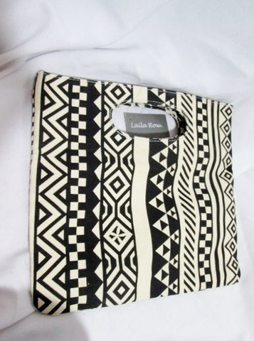 NEW NWT LAILA ROWE GIANNINI Convertible Foldover Clutch Wallet BLACK WHITE GEOMETRIC