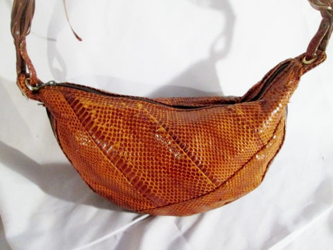 CRESCENT Leather Snakeskin Python Hobo Bag Shoulder Bag Satchel BROWN  Banana Purse 29ae10d7d2821