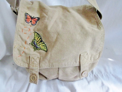 STEVE MADDEN Embroidered BUTTERFLY vegan messenger flap crossbody bag BEIGE M canvas