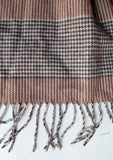 Mens Womens Ladies Made in Scotland CASHMERE SCARF BEIGE GRAY HERRINGBONE Fringe