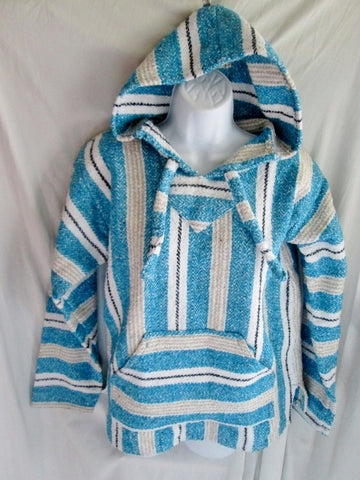 NEW Womens EARTH RAGZ MEXICO Hoodie Woven Beach Coverup Top Hippie L WHITE BLUE Stripe Hippie