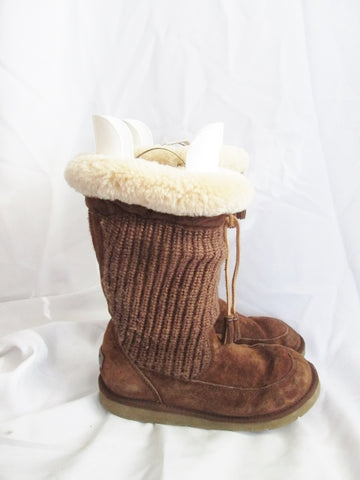 Womens UGG 5124 SUBURB Sweater Suede BOOTS 9 BROWN CHOCOLATE Shearling