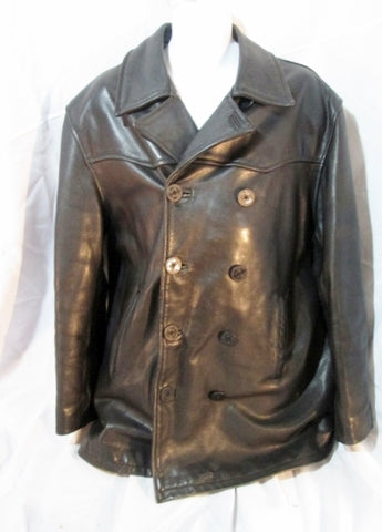 MENS AMERICAN BASE Leather FLIGHT Moto Jacket Coat XL BLACK Aviator Biker Rider