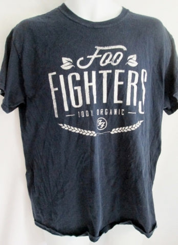 Mens FOO FIGHTERS 100% Organic T-Shirt XL Hippie L NAVY BLUE Concert Band