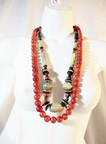 Set Ethnic African Stone Beaded BALL Necklace AFRO FASHION Chunky RED GRAY