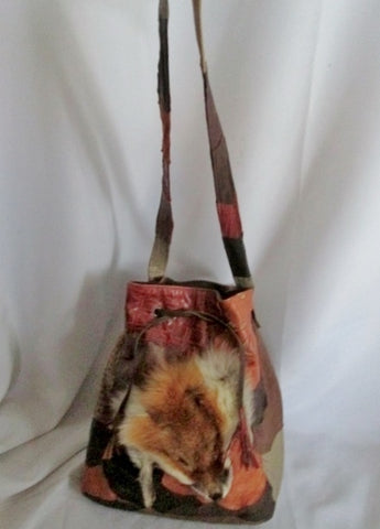 RACHEL HANDBAGS ISRAEL PATCHWORK Bucket FOX FUR Satchel Bag Shoulder BROWN Purse