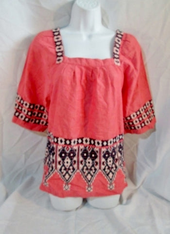 Womens CALYPSO St. Barth Embroidered Peasant Top Shirt Boho S PINK Hippy
