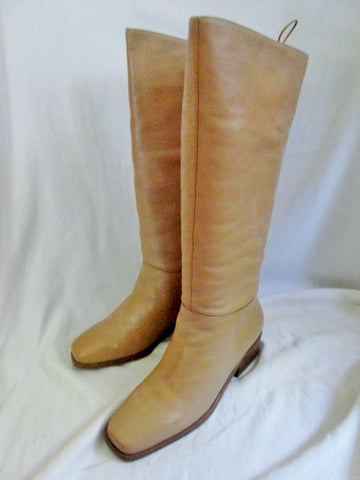 Womens MARKON Steampunk LEATHER Lace Back RIDING BOOT 7.5 BROWN WHEAT CHESTNUT