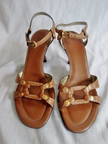Womens COLE HAAN LEATHER Strappy Sandals Shoes 7.5 BROWN NIKE AIR High Heel