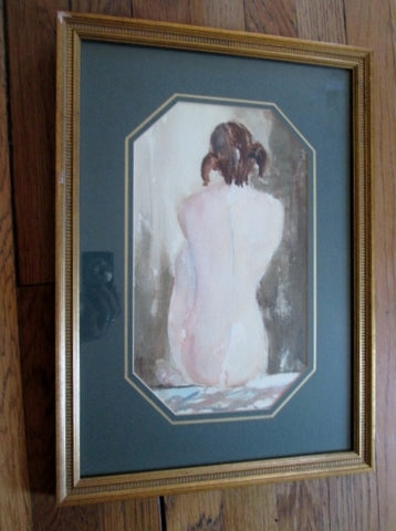 Signed ED LEVIN NUDE GIRL WOMAN Watercolor Painting ART FRAME GREEN GOLD