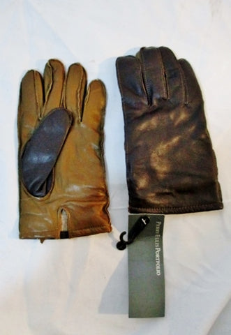 NEW NWT PERRY ELLIS PORTFOLIO Genuine Leather Driving Gloves BROWN S/M
