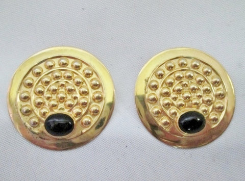 "Signed TULLA BOOTH 1.5"" Pierced Earring DISC Statement GOLD BLACK BUBBLE CIRCLE"