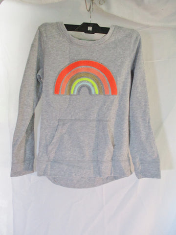 NEW Girls Youth Kids CAT & JACK RAINBOW Sweatshirt Pullover L 10/12 PRIDE Gray