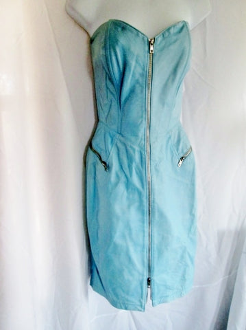 Vintage WOMENS MICHAEL HOBAN NORTH BEACH LEATHER Dress M BLUE Zipper