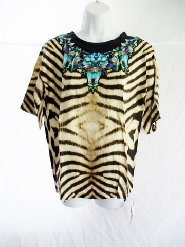 NEW NWT ROBERTO CAVALLI SILK Stripe Animal Print Top Shirt 42 / 170 96A Womens