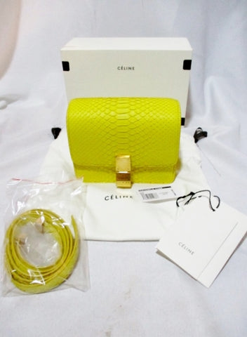 NEW CELINE SMALL FLAP BAG Leather SUN YELLOW PYTHON Purse NWT