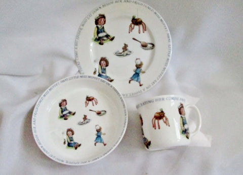 NEW QUEEN'S CHINA Nursery Rhyme Cup Bowl Plate Little Miss Muffet Set Collectible Display