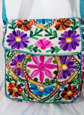 Vegan Ethnic Knit Embroidered Shoulder Bag Mirror Hippie Floral Colorful Crossbody