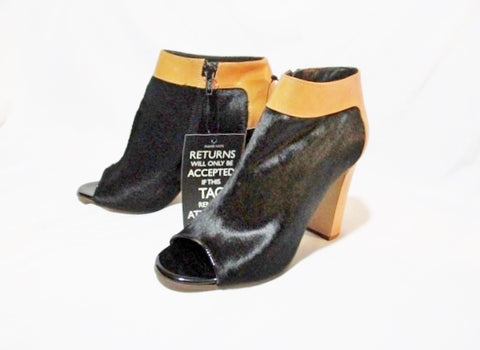 NEW CHLOE PONY CALF TUCSON Bootie Ankle Boot 36 / 6 BLACK BROWN NWT Leather Shoe Peep Toe