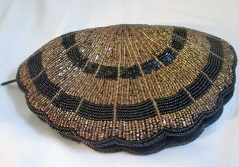 SCALLOP Beaded MERMAID evening bag clutch purse wallet BLACK SHELL COPPER Vegan