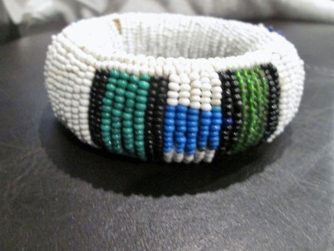 Handmade AFRICA Bead BRACELET Tribal Ethnic Cuff BEAD Bangle WHITE GREEN BLACK