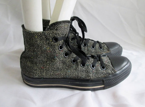 CONVERSE ALL STAR Chucks Hi-Top Sneaker HERRINGBONE TWEED W 6  M 4 BLACK